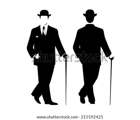 silhouette of the gentleman in a fashionable suit - stock photo