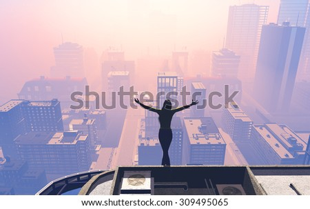 Silhouette of the girl on the roof of a skyscraper . - stock photo