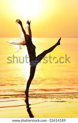 Silhouette of the happy girl on a background of a sunset - stock photo