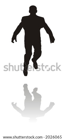 Silhouette of the jumping man (vector) - stock photo