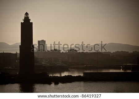 silhouette of the lighthouse in the port Bastia - Corsica