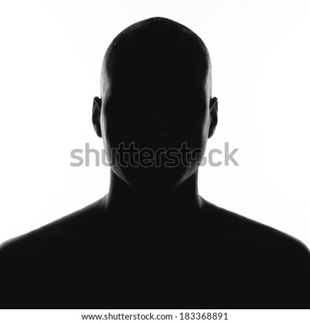 silhouette of the man on a white background - stock photo
