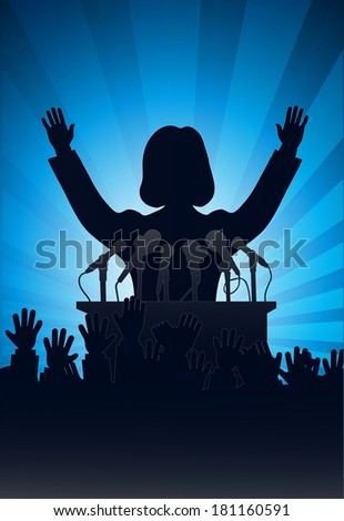 silhouette of the person among public - stock photo