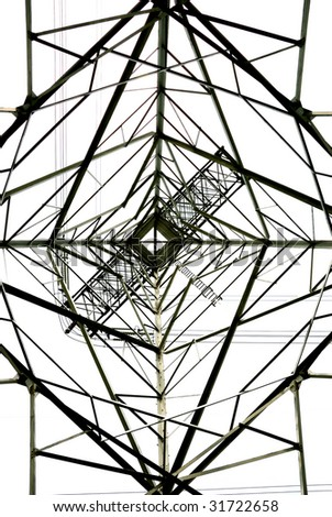 silhouette of the power transmission tower - stock photo