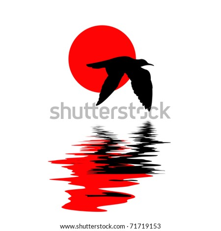 silhouette of the sea gull on water on white background - stock photo