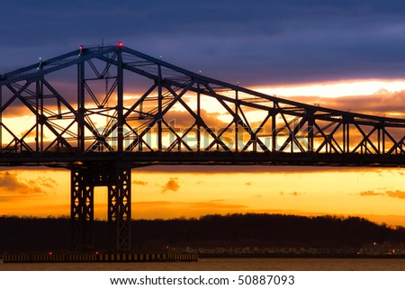 Silhouette of the Tappen Zee Bridge over the Hudson - stock photo