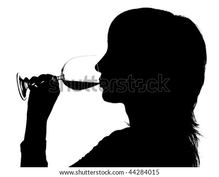 Silhouette of the woman drinking red wine on white background - stock photo
