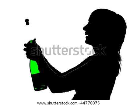 Silhouette of the woman with green bottle in hands opening champagne so that cork is shoot out, isolated on white - stock photo