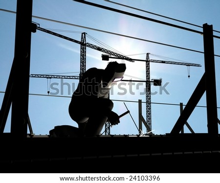 Silhouette of the worker