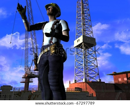Silhouette of the worker on a background of the sky - stock photo