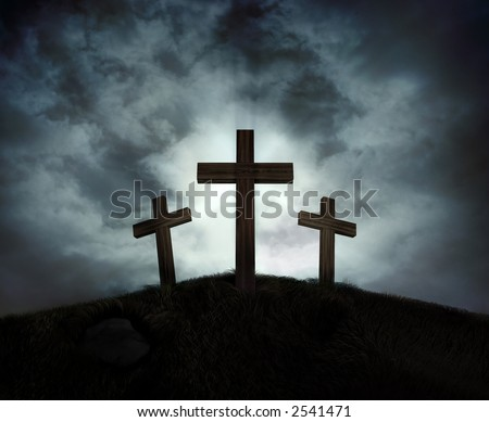 Silhouette of three crosses on a hill with a sunburst behind them - stock photo