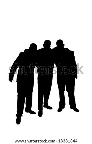 Silhouette of three friends huddling - stock photo