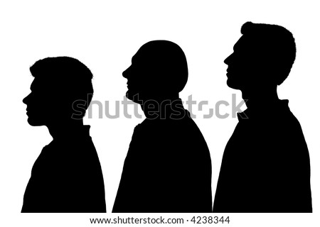 Silhouette of three people standing in line over white background - stock photo