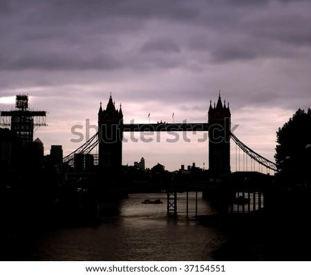 Silhouette of Tower Bridge, London - stock photo