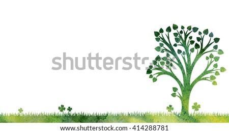 silhouette of tree with leaves at grass drawing in watercolor, artistic hand painting illustration