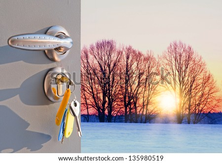 silhouette of trees against the backdrop of a frosty morning open door - stock photo