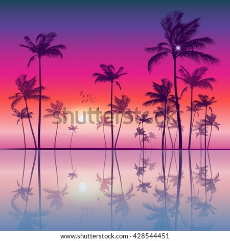 Silhouette of tropical palm trees  at sunset or sunrise, with cloudy sky - stock photo