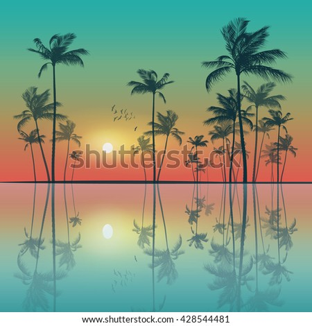 Silhouette of tropical palm trees  at sunset or sunrise, with cloudy sky