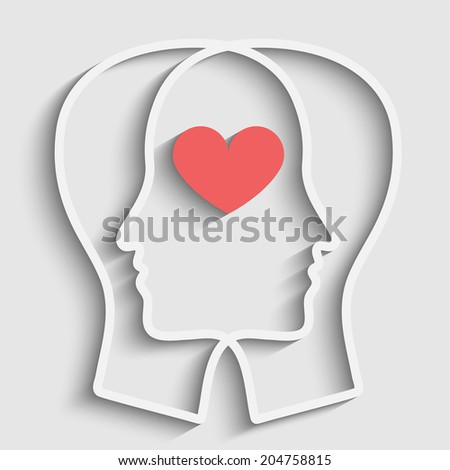 SIlhouette of two heads with heart symbol - stock photo