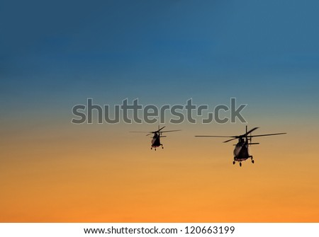 silhouette of two helicopters over summer sunset