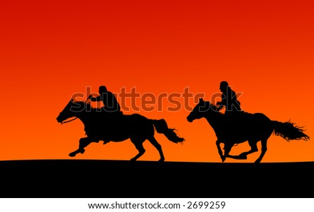 Silhouette of two horses and riders at sunset.