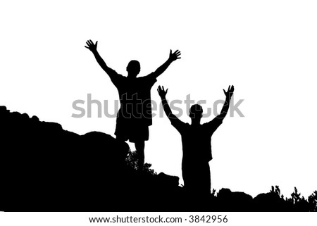 Silhouette of Two People - stock photo