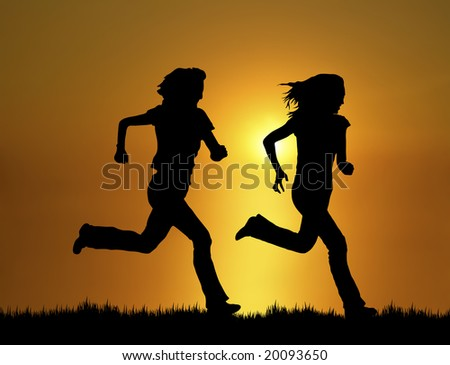 silhouette of two women running at sunset/sunrise