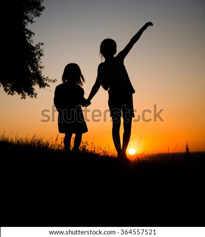 Little Girl Silhouette Stock Images RoyaltyFree Images Vectors - Beautiful painted window silhouettes interact outside world