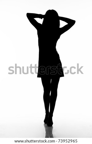 Silhouette of walking sexy woman. Isolated on white background with clipping path