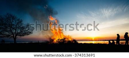 silhouette of Walpurgis Night - stock photo