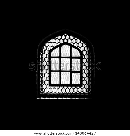 Silhouette of window in the muslim mosque - stock photo
