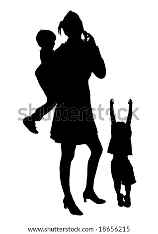silhouette of woman and children