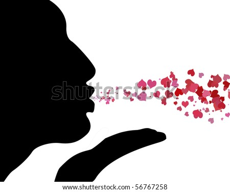 Silhouette of woman blowing kisses with red and pink hearts flowing from her mouth. - stock photo