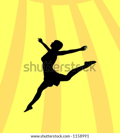 Silhouette of woman/girl jumping in the sunshine - stock photo