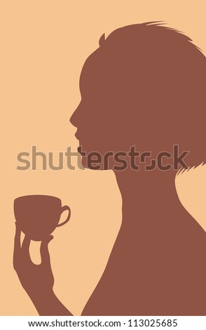 Silhouette of woman with cap of drink