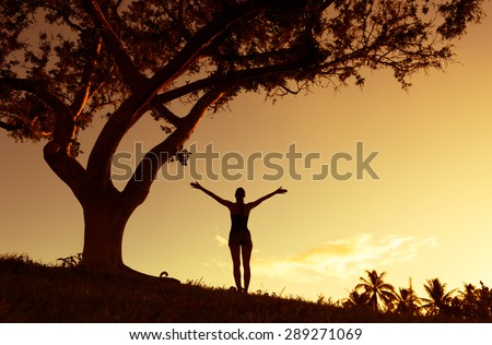 Silhouette of woman with hands raised up. Enjoyment, freedom, religion concept - stock photo