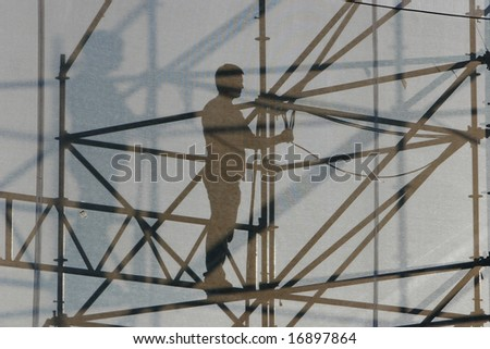 silhouette of worker at construction site
