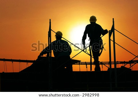 silhouette of workers