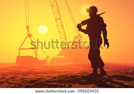 Silhouette of workers and excavator.3D rendering - stock photo