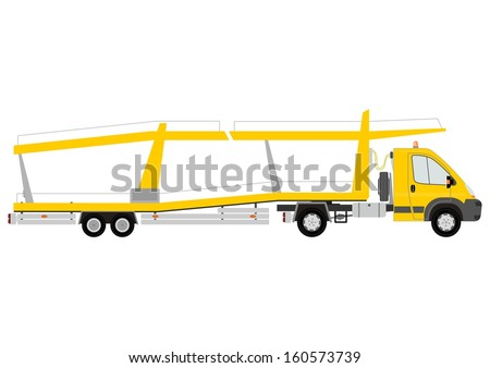 Silhouette of yellow car transporter on a white background. - stock photo