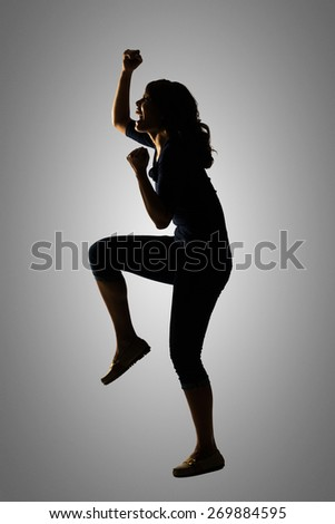 Silhouette of young Asian woman pose, full length portrait isolated.
