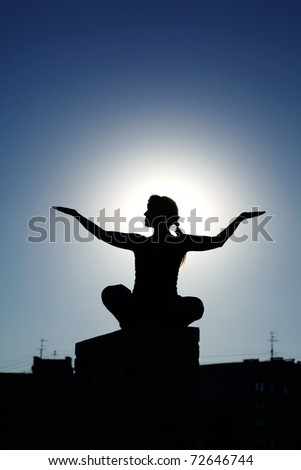 Silhouette of young attractive female fitness.  Caucasian girl doing  yoga poses isolated on white background.