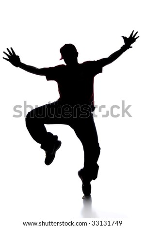 Silhouette of young man breakdancing isolated over white - stock photo