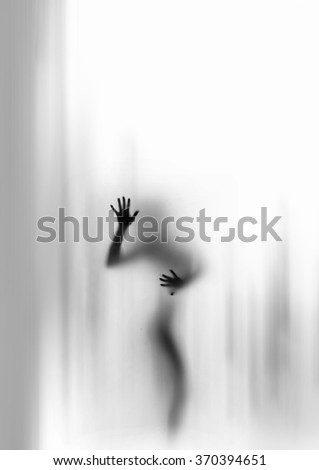 Silhouette of young woman hiding in light-gray shadows