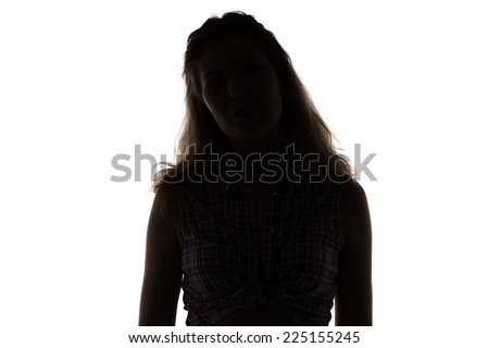 Silhouette of young woman on white background - stock photo