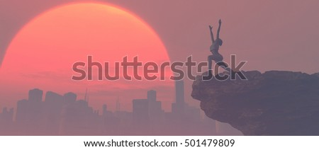 Silhouette of young woman practicing yoga on a hill next to a city at sunset. This is a 3d render illustration