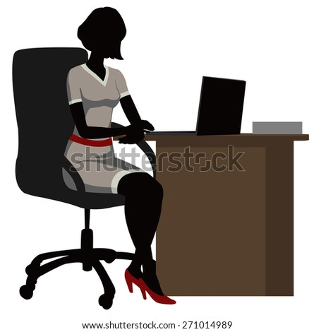 silhouette office woman  with a laptop - stock photo