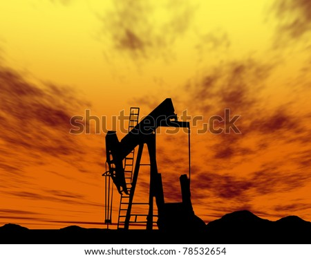 Silhouette  oil rigs - stock photo