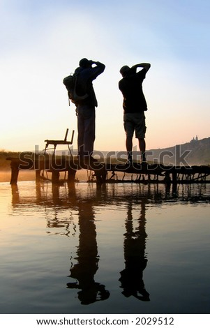 silhouette on a water - stock photo