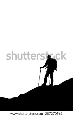 Silhouette on white background of a man on a mountain trekking, adventure sports and forwarding